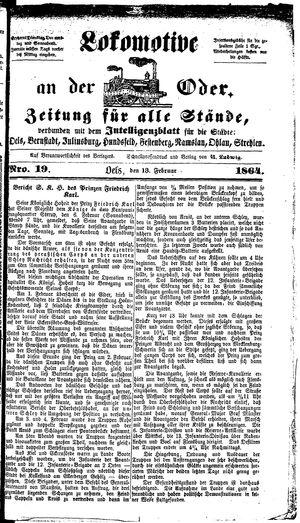 Lokomotive an der Oder vom 13.02.1864