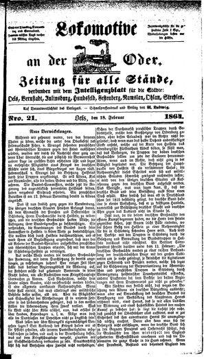 Lokomotive an der Oder vom 18.02.1864
