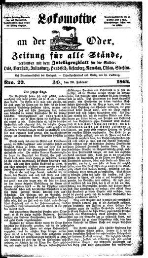 Lokomotive an der Oder vom 20.02.1864