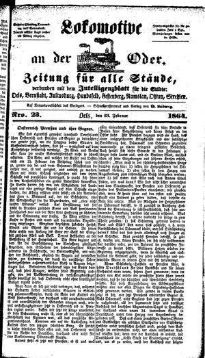 Lokomotive an der Oder vom 23.02.1864
