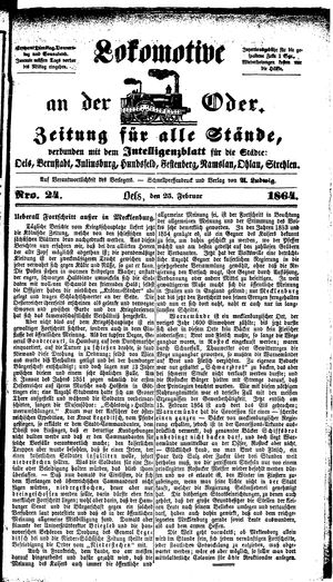 Lokomotive an der Oder vom 25.02.1864