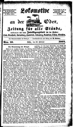 Lokomotive an der Oder vom 27.02.1864