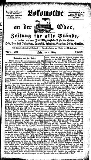Lokomotive an der Oder vom 01.03.1864