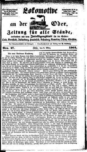 Lokomotive an der Oder vom 03.03.1864