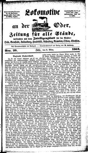 Lokomotive an der Oder vom 08.03.1864