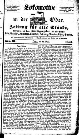 Lokomotive an der Oder vom 12.03.1864