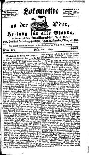Lokomotive an der Oder vom 17.03.1864