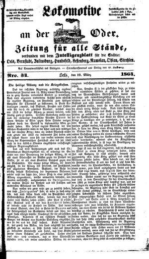Lokomotive an der Oder vom 19.03.1864