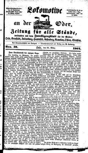 Lokomotive an der Oder vom 31.03.1864
