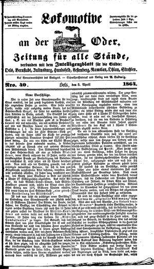 Lokomotive an der Oder vom 05.04.1864