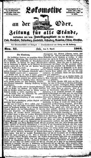 Lokomotive an der Oder vom 07.04.1864