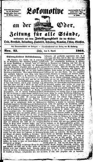 Lokomotive an der Oder vom 09.04.1864