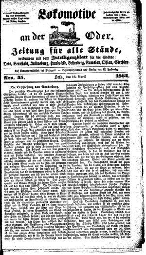 Lokomotive an der Oder on Apr 16, 1864