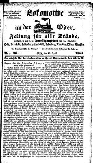Lokomotive an der Oder vom 19.04.1864