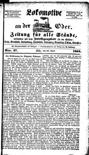 Lokomotive an der Oder vom 23.04.1864