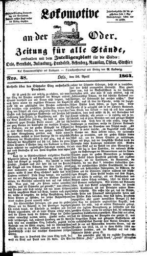 Lokomotive an der Oder vom 26.04.1864