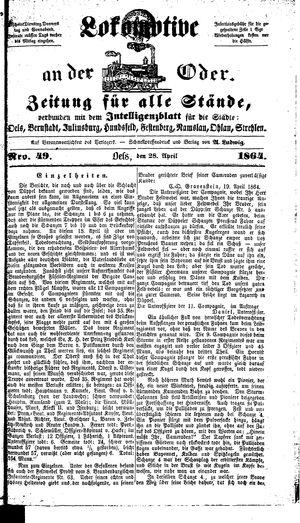 Lokomotive an der Oder vom 28.04.1864