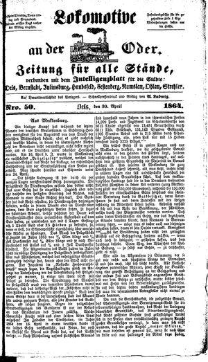 Lokomotive an der Oder on Apr 30, 1864