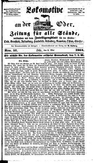 Lokomotive an der Oder vom 03.05.1864