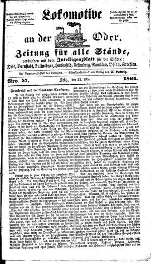 Lokomotive an der Oder vom 21.05.1864
