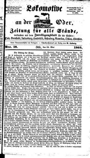 Lokomotive an der Oder vom 24.05.1864