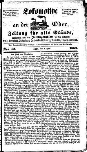Lokomotive an der Oder vom 04.06.1864