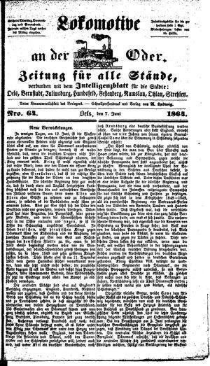 Lokomotive an der Oder vom 07.06.1864