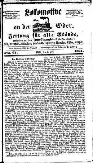 Lokomotive an der Oder vom 09.06.1864