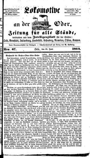Lokomotive an der Oder vom 14.06.1864