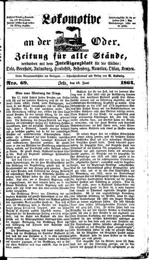 Lokomotive an der Oder vom 18.06.1864