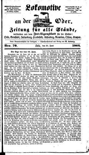 Lokomotive an der Oder vom 21.06.1864
