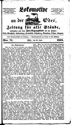 Lokomotive an der Oder vom 23.06.1864