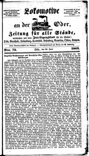 Lokomotive an der Oder vom 25.06.1864