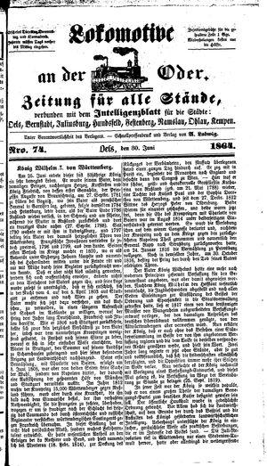 Lokomotive an der Oder vom 30.06.1864