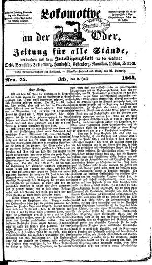 Lokomotive an der Oder vom 02.07.1864