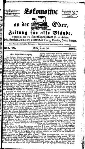 Lokomotive an der Oder vom 05.07.1864