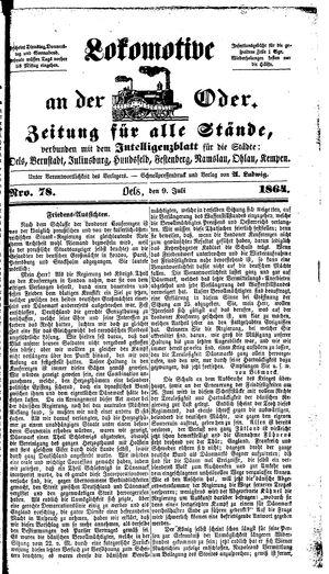 Lokomotive an der Oder on Jul 9, 1864