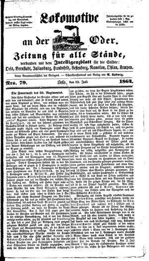 Lokomotive an der Oder vom 12.07.1864