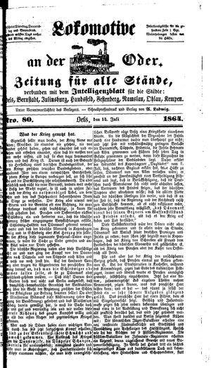 Lokomotive an der Oder vom 14.07.1864