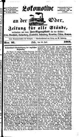 Lokomotive an der Oder vom 16.07.1864