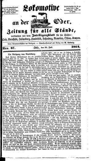 Lokomotive an der Oder vom 30.07.1864