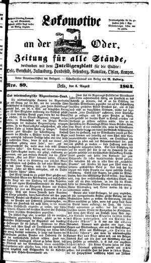 Lokomotive an der Oder vom 04.08.1864