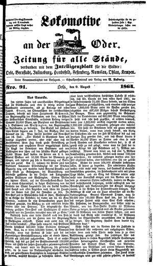 Lokomotive an der Oder vom 09.08.1864
