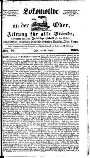 Lokomotive an der Oder vom 11.08.1864