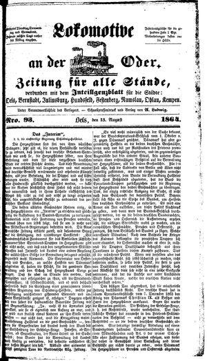 Lokomotive an der Oder vom 13.08.1864