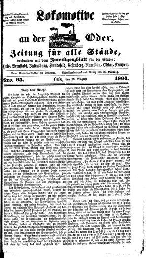 Lokomotive an der Oder vom 18.08.1864