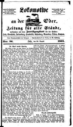 Lokomotive an der Oder vom 20.08.1864