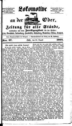 Lokomotive an der Oder vom 23.08.1864