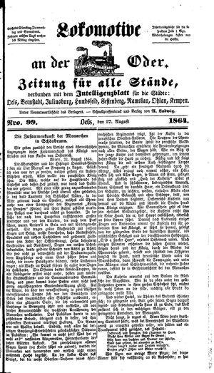 Lokomotive an der Oder vom 27.08.1864