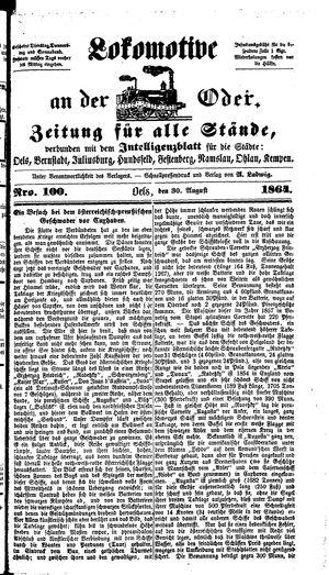 Lokomotive an der Oder vom 30.08.1864